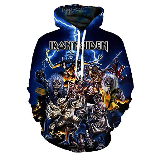 SUNCHTX 3D-Druck Unisex Langarm-Kapuzenjacke Kleidung Pullover Pullover Coole Atmungsaktive Sportmuster Hoodie Iron Maiden-L -