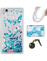 Para Huawei P9Lite móvil, 3d fließen líquido para trucha, arenas movedizas estrella Bling Lujo Shiny brillo Sparkle Cristal Crystal Multicolor de amor diseño Satisfacción Bolsa Funda Para Huawei P9Lite Liquid Case + Polvo Conector rosa 8
