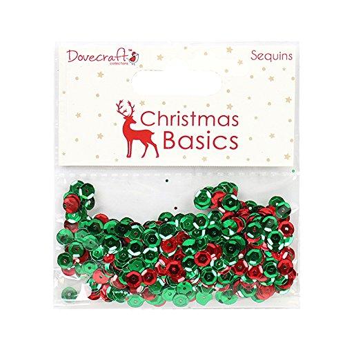 Dovecraft Basics paillettes-Natale, paillettes, colore: rosso/verde