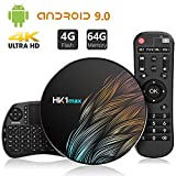 Android 9.0 TV Box【4G+64G】con Mini Teclado inalámbirco con touchpad RK3328 Quad-Core 64bit Wi-Fi-Dual 5G/2.4G,BT 4.1, 4K*2K UHD H.265, HDMI, USB 3.0 Smart TV Box