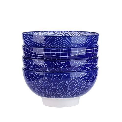 Vancasso TAKAKI 4pcs Bols à Riz Nouilles Soupe Bol à Miso Céréales Porcelaine 15.2*15.2*7.5cm 4 Motifs Style Japonais Asiatique BLEU