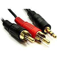 HASH Jack da 3,5mm a 2RCA cavo fono stereo audio maschio di alta qualità 0.5m/1m/1.2m/1.5M/1.8m/2M/3M/5m/10m/15m/20m/da Hash - Fono Rca Audio Stereo