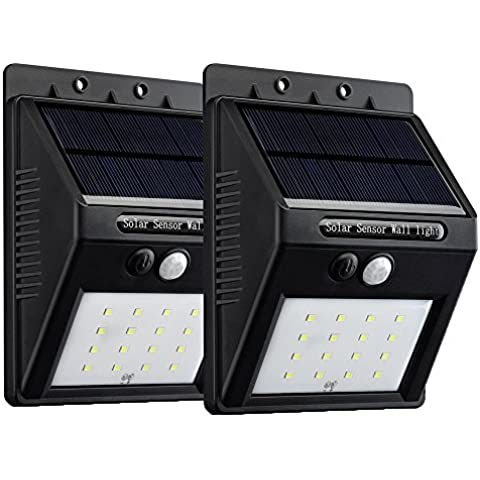 VicTsing 2 Packs Luces solares de x16 Led con sensor de movimiento para exteriores incluyendo Patio, Hall, Jardín, Porche y