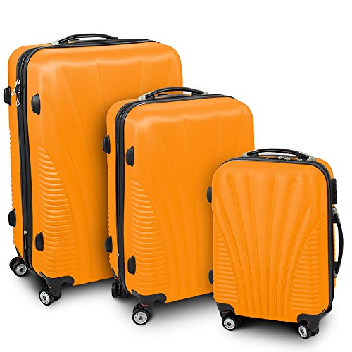 Kofferset 3-teilig Reisekoffer Trolley Hartschalenkoffer ABS Teleskopgriff Modell 'Funnel' (Orange)