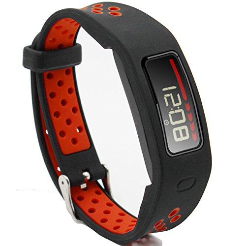 El-move Garmin Vivofit accesorios correa de repuesto banda deporte correas para garmin vivofit 1 generación pulsera Fitness inalámbrico pulsera reloj inteligente rastreador actividad (Black Red)