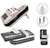 Dshoop ® carica batteria caricatore lcd universale usb per batterie al litio di cellulari e fotocamera - bianco con bordo nero