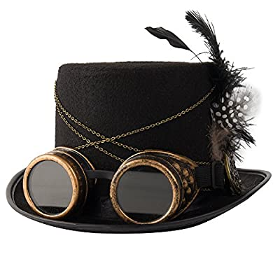 Sombreros de Copa con Pluma Gótico Steampunk, sombreros steampunk, moda steampunk