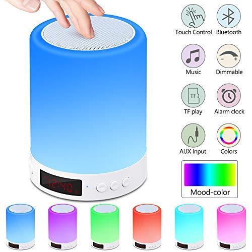 Nachttischlampe mit Bluetooth Lautsprecher,Berührungssensor Nachtlicht Nachttischlampe mit Wecker, FM-Radio, Dimmbarem Warmem Licht und 7 Farbwechselnden Tragbaren Campinglaternen für Kinder,Geschenke