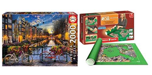 Pack Puzzle Educa 17127. Amsterdam. 2000 piezas + Tapete universal Puzzle Roll 4809/64239