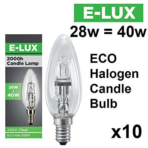 Lot de 10 ampoules flamme halogènes E-Lux 42 W = 60 W et 28 W = 40 W BC B22 ou SES E14, économes en énergie SES(E14) CAP 28W SES (E14)