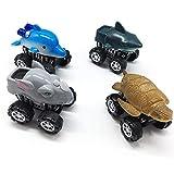 KOBWA 4 Pcs Zurückziehen Dschungel Tiere Autos, Zurück Schieben Spielzeug Auto mit großen Reifen Rad, Monster Fahrzeug Playset Party Favors kreative Geburtstagsgeschenke für Kinder Kinder
