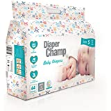 DIAPER CHAMP Chlorine and Paraben-Less Baby Diapers (Small, 3-7kg, 44 Count)