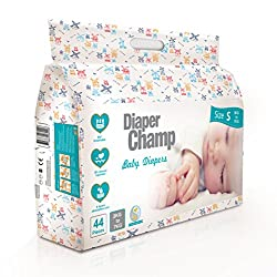 Diaper Champ Baby Diapers, Small Size, 3 to 7kg, Chlorine & Paraben Free (44 Count)