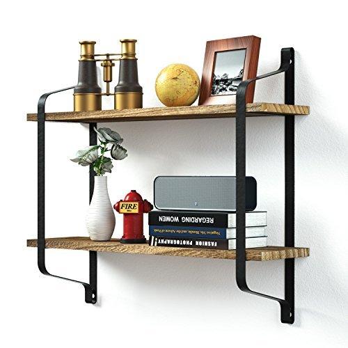 Love-KANKEI Rustikal Floating Bücherregale Wand montiert, Industrie Wandregale für Pantry Wohnzimmer Schlafzimmer Küche Diele, 2Etagen Holz Ablage strapazierfähige - 2 Buch Etagen