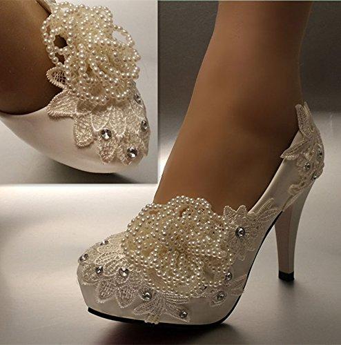 JINGXINSTORE Bianco perla di cristallo di pizzo scarpe Nozze Nuziale pompe tacchi white