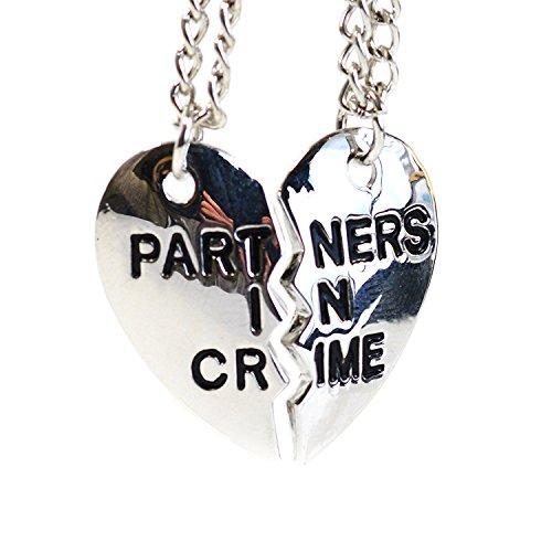 Partner di reato heart_collane in argento, con incisione per migliori amici _a forma di cuore, pendente a forma di Puzzle, in confezione regalo