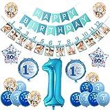 SANCUANYI 1 Compleanno Decorazioni Bambina Ragazzo Palloncini Compleanno 1 Anno Decorazioni per Neonati Ragazzo (Blu)
