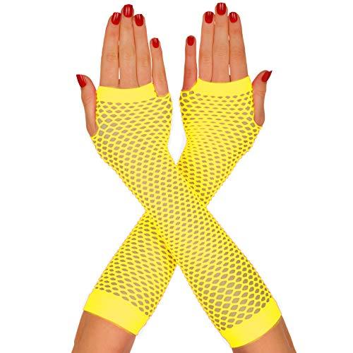 Jahre Dress 80er Fancy Kostüm Neon - Redstar Fancy Dress - Fingerlose Netzhandschuhe - 80er Jahre Tanzparty - Retro Kostüm-Accessoire - Gelb