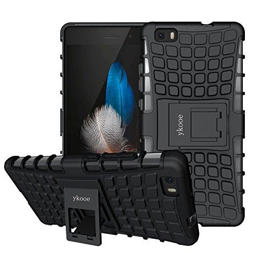 ykooe Huawei P8 Lite hülle, (Rüstungs Series) Huawei P8 Lite Hülle Dual Layer Hybrid Handyhülle Stoßfest Handys Schutz Case mit Ständer Schutzhülle für Huawei P8 Lite Schwarz (5,0 Zoll)