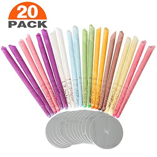 CETECK 20x Wachs Ohrkerzen Ohrkegel Kerzen mit 8 Farben Bio Duft Aroma Bienenwachs Aromatherapie Kerzen - 10 Paar, mit 20 Schutzscheiben - Bio-aromatherapie-kerze