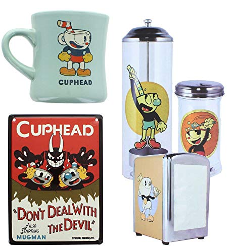 4ad1b3800 Cuphead Themed Diner Bundle Set with Straw Holder, Ceramic Mug and More