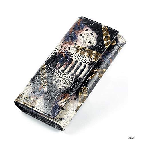 Brieftasche Echtes Leder Weibliche Kupplung Brieftasche Schwarz Und Weiß Geprägte Lange Brieftasche Für Frauen Kartenhalter Geldbörsen Reißverschluss Geldbörse, C -