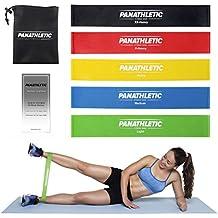 Bandas Elasticas Fitness / Cintas Elásticas de Resistencia con Guía de Ejercicios y Bolsa, Set de 5 Bandas -- juego de 5x banda elastica, cinta elástica para yoga, crossfit, entrenamiento de fuerza, pilates, fisioterapia