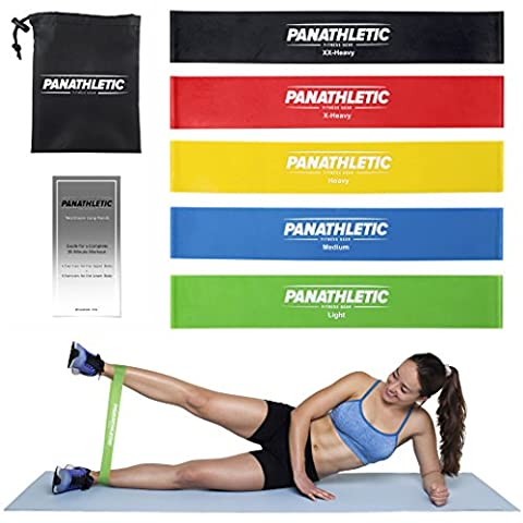 Resistance Loop Bands / Exercise Bands / Fitness Bands, Set of 5, with Exercise E-Guide and Carry Bag -- 5x power body band, tension stretch band, elastic workout band for yoga, rehab, crossfit, strength training, pilates and calisthenics