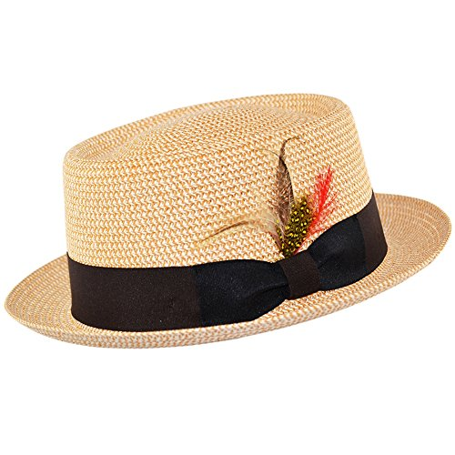 Straw Style Pork Pie HAT with Feather