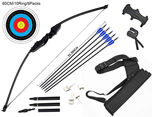 dostyle Recurve Pfeil und Bogen Set Outdoor Bogenschießen Jagd Schießscheiben Training Langbogen mit Pfeilköcher (40 LB)