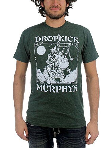 Dropkick Murphys - Uomo Vintage Skeleton Piper T-Shirt, Large, Nero