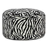 Velinda Petit Pouf Tabouret Confortable avec granules de polystyrene 40x65cm (Couleur: Zebre)