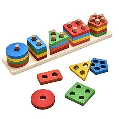 KanCai Formes À Trier et À Empiler Jeu de Tri Couleurs Et Formes Puzzle en Bois Jouets Éducatif Formes Bloc Géométriques pour Les Enfants