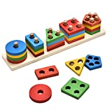 KanCai Educativos de Madera geométrico Junta de Reunir Bloques Montessori para Niños Juguetes educativos del bebé de los Bloques Huecos