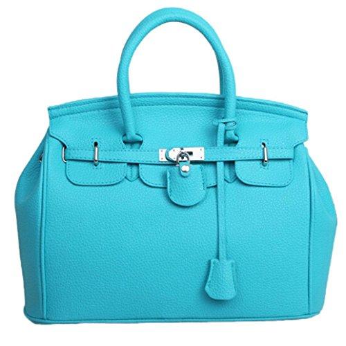 Kangrunmy semplice più grande capacità di cuoio donne spalla borsa borsetta borse donna tracolla grande (azzurro)