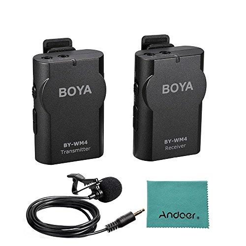 BOYA BY-WM4 2.4GHz Wireless Solapa Lavalier Micrófono Sistema MIC Mon