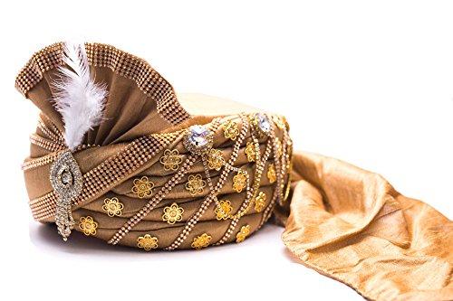 Wedding Groom Head Safa Turban - Velvet (Golden, 22)
