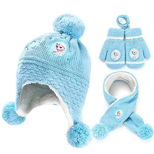 3Pcs-Kinder Schal Hut Handschuhe Set, Strickmütze Schal Und Handschuhe Weichen Warmes Winter Accessoires Plüschfutter, Geeignet for Kinder Im Alter Von 3-8 Jahren (Farbe : #2)