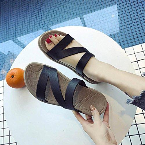 Sandali donna,Amlaiworld Donne doccia sandali pantofola scivolo interno scarpe da spiaggia Nero