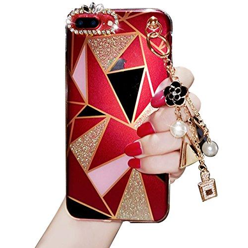 iPhone 7 Plus / iPhone 8 Plus Coque, Sunroyal Bling Diamants Luxe Case Ultra Slim Cristal Brillant Téléphone Case Transparent en TPU Silicone Gel Anti Scratch Couverture Shell pour Ladies Girls Etince Bling01