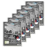 Stylex 40033-P6 40033 Duo Spiral-Collegeblock DIN A5, 80 linierte und Karierte Blätter aus holzfreiem Papier, im 6er Vorteils-Pack für Schule und Universität, Klar