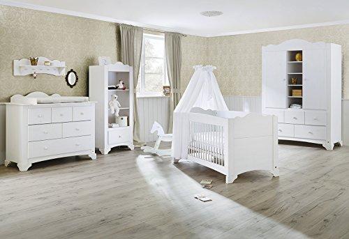 Pinolino 101642Bg 3-Teilig, Kinderbett, Breite Wickelkommode mit Wickelaufsatz und Großer Kleiderschrank, Kiefer Massiv, 140 X 70 cm, weiß lasiert -