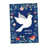 JulicaDesign Einladung Taufe   6 Klappkarten mit Umschlag   Taufeinladungen für Jungen und Mädchen (Blau)
