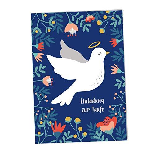 JulicaDesign Einladung Taufe | 6 Klappkarten mit Umschlag | Taufeinladungen für Jungen und Mädchen (Blau)