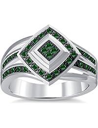 Silvernshine 1.35Ctw Round Cut Green Garnet Sim Diamonds 14K White Gold Plated Engagement Ring