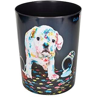 Läufer 26663 Papierkorb mit Motiv Bunter Hund, 13 Liter Mülleimer, perfekt für das Kinderzimmer, rund, stabiler Kunststoff