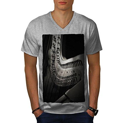 wellcoda Harfe Instrument Kunst Musik Männer L V-Ausschnitt T-Shirt