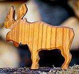 Elch geschnitzt Holz Tier Krippe Dekoration Massiv Figur Handarbeit Bauerntier Wald