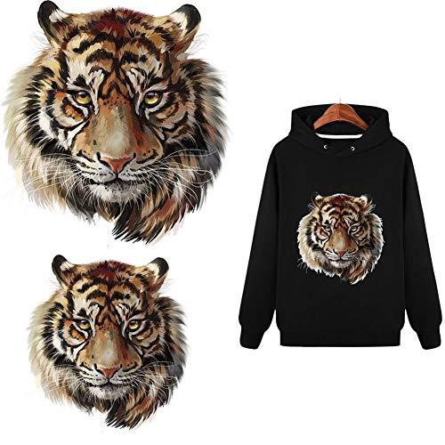 YUnnuopromi Tiger Kopfmuster Patch Wärmeübertragung Aufkleber Bügelbild DIY Transfer Sticker Kleidung Dekoration, Papier, 23.2cm x 22cm Tiger Aufkleber