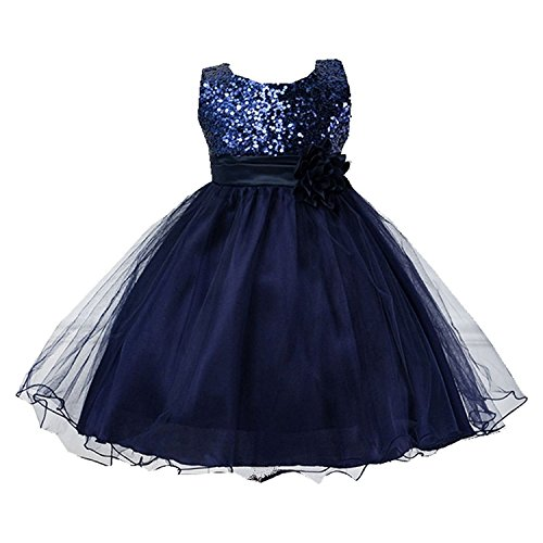 TOOGOO(R) New Fashion Princess Girl O-Neck Sleeveless Dress Sequined Floral Ball Gown Party(Dark Blue,100cm)